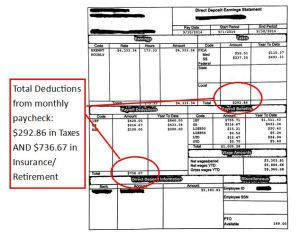 Total deductions from paycheck