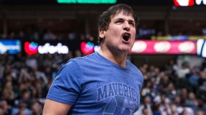 Dec 26, 2013; Dallas, TX, USA; Dallas Mavericks owner Mark Cuban reacts to a call during the game against the San Antonio Spurs at the American Airlines Center. The Spurs defeated the Mavericks 116-107. Mandatory Credit: Jerome Miron-USA TODAY Sports